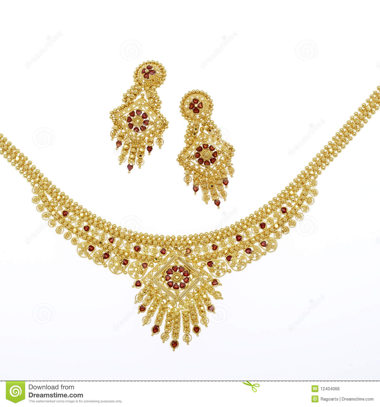 Gold necklace and matching earrings