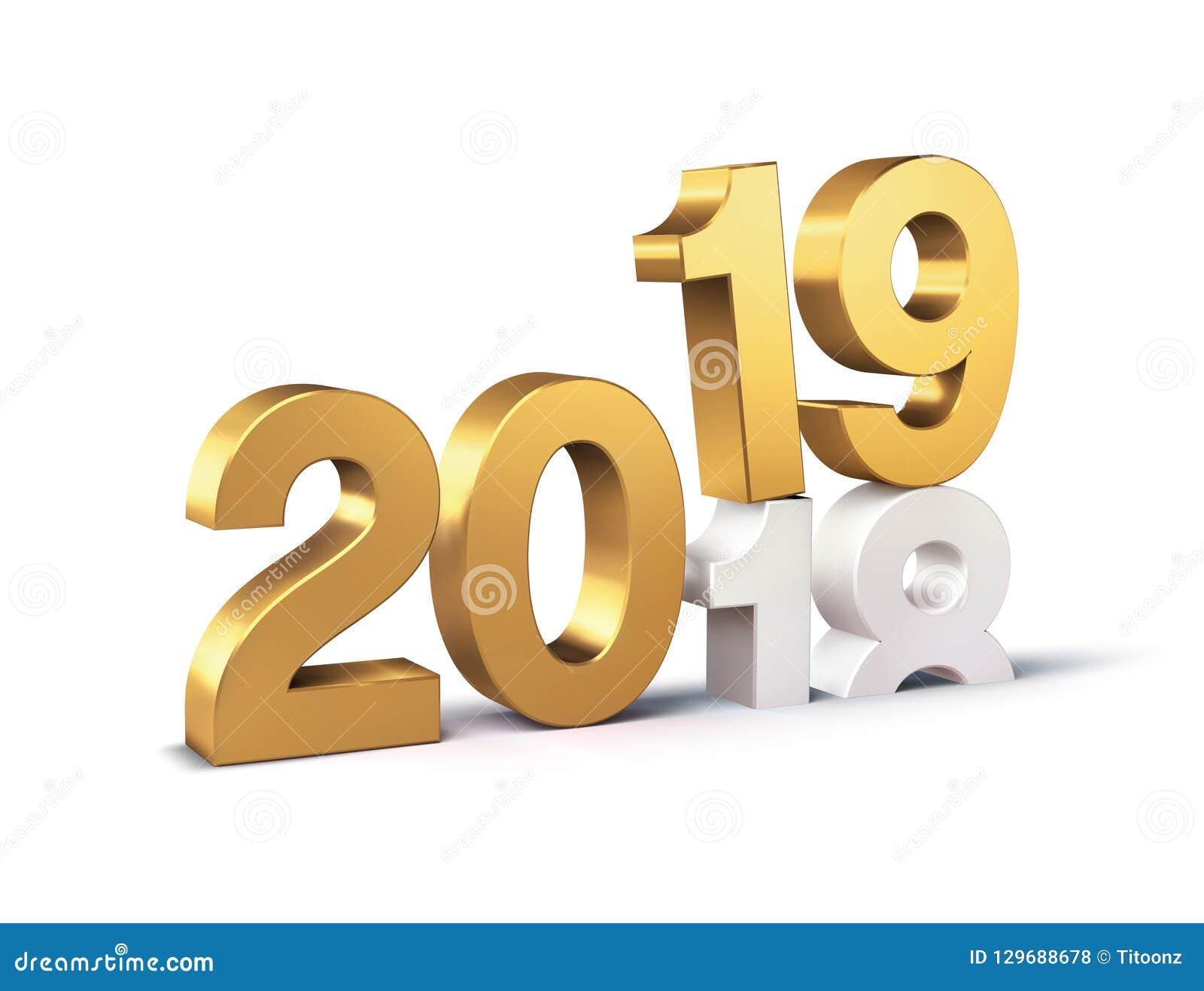 Gold 2019 New Year Beginning Symbol Stock Illustration ...