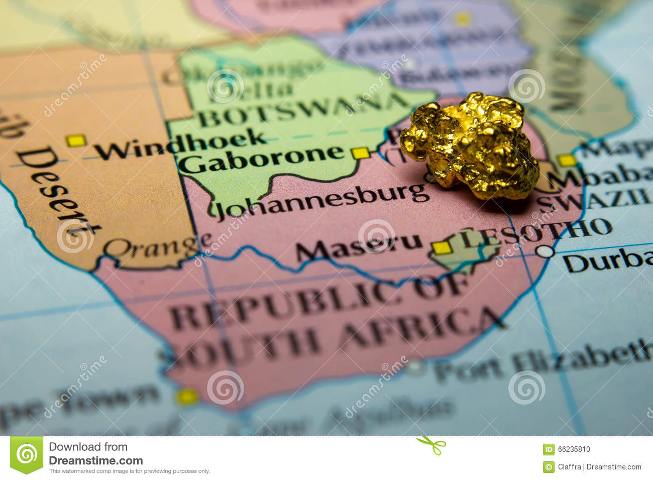 Gold In South Africa Map.Gold Nugget And Map Of South Africa Stock Photo Image Of