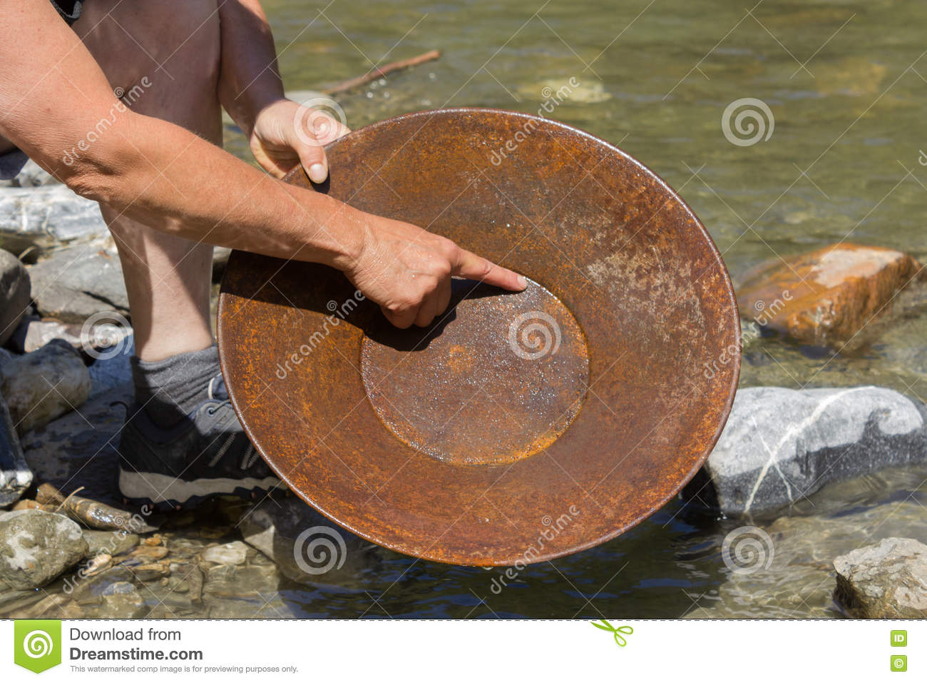 Download Gold Nugget Mining From The River Stock Image