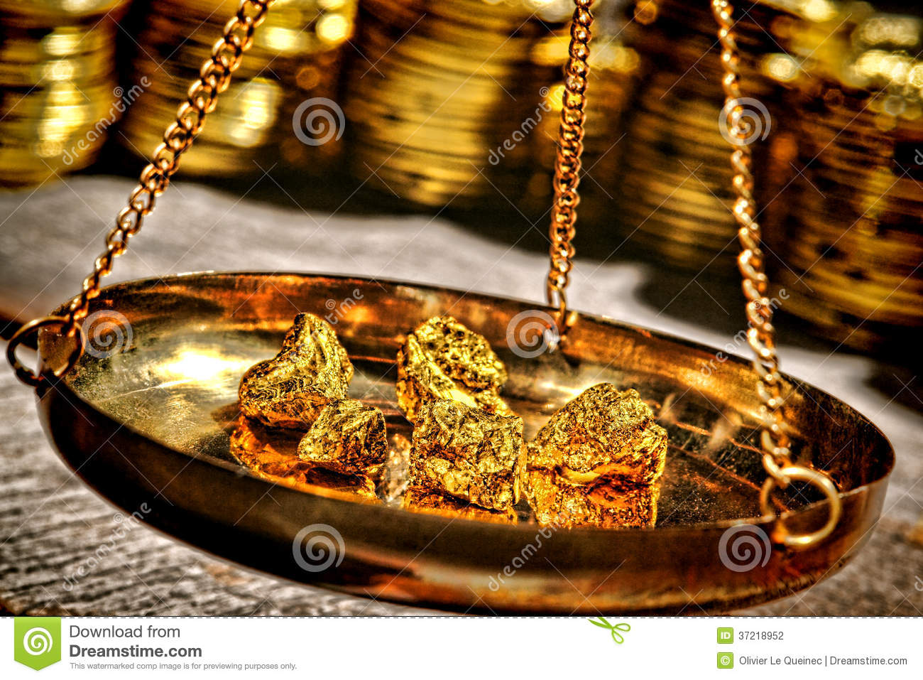 Gold Nuggets In Scale Pan At Precious Metal Dealer