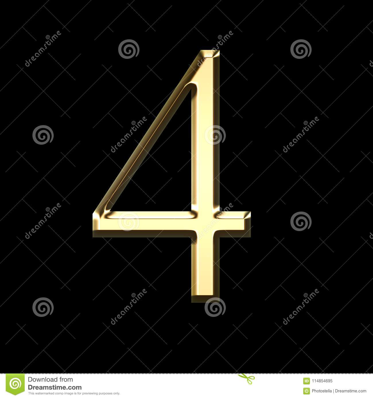 Gold Number Four 3d Illustration Stock Illustration