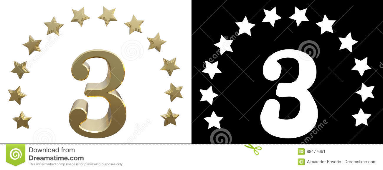 Gold Number Three Decorated With A Circle Of Stars 3d