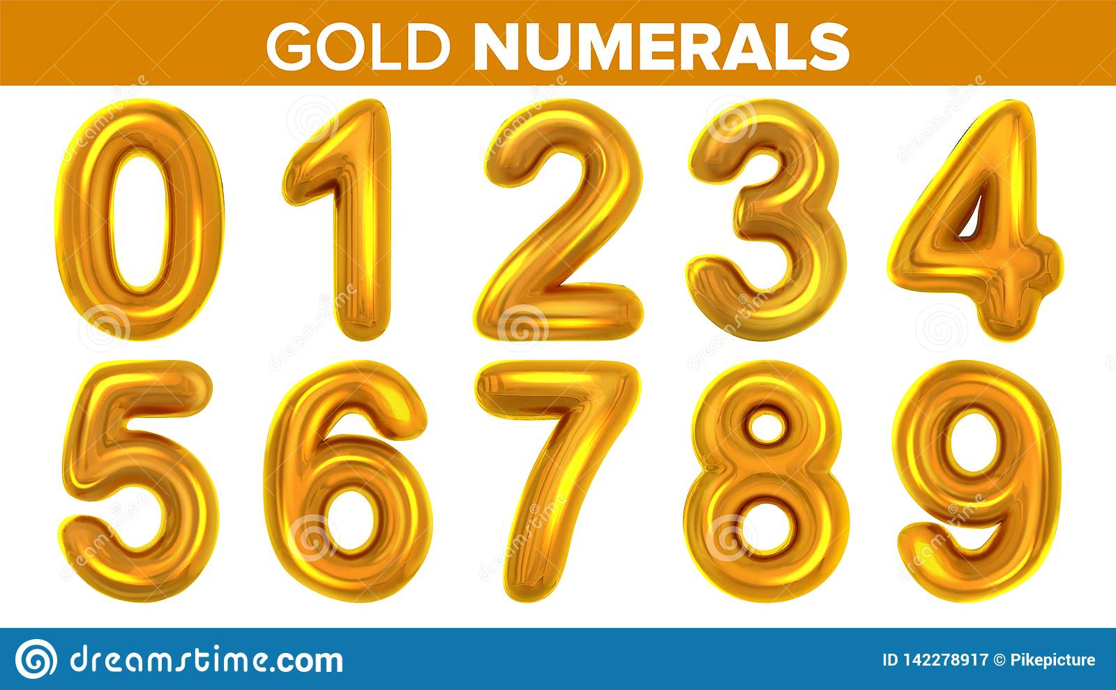 Gold Numerals Set Vector. Golden Yellow Metal Letter. Number 0 1 2 3 4 5 6 7 8 9. Alphabet Font. Typography Design