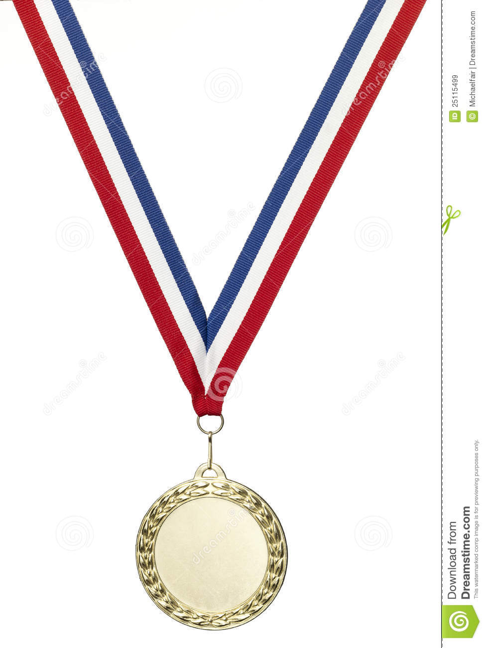 gold olympics medal blank with clipping path royalty free