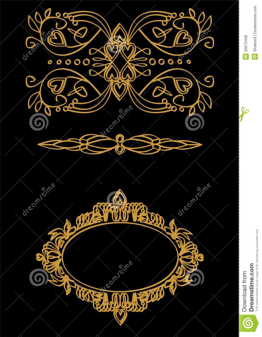 gold ornament in art nouveau style stock vector image 35670408. Black Bedroom Furniture Sets. Home Design Ideas