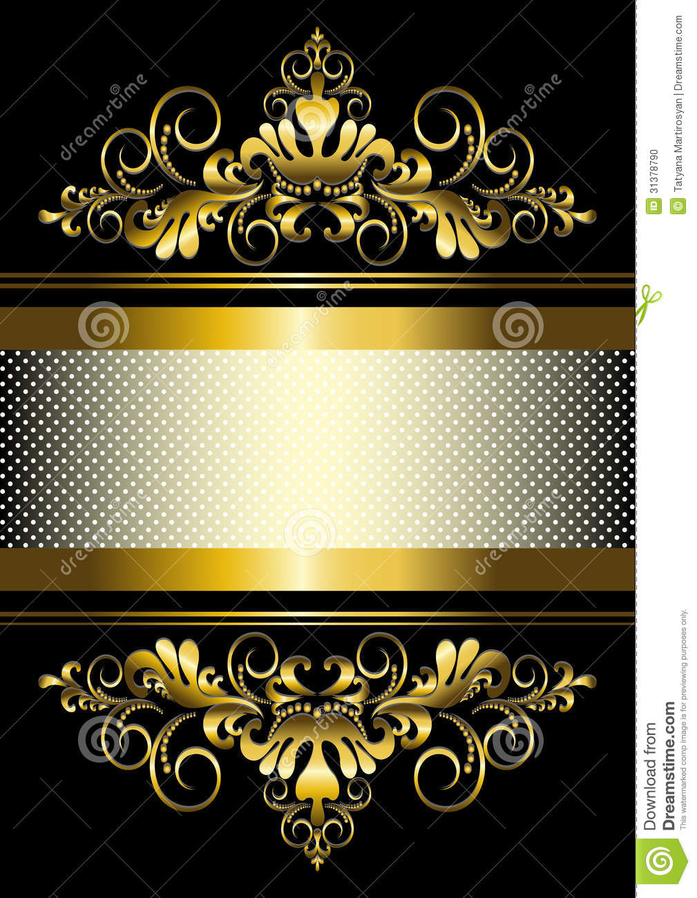 gold ornament and gold stripes with ribbon illustration 31378790