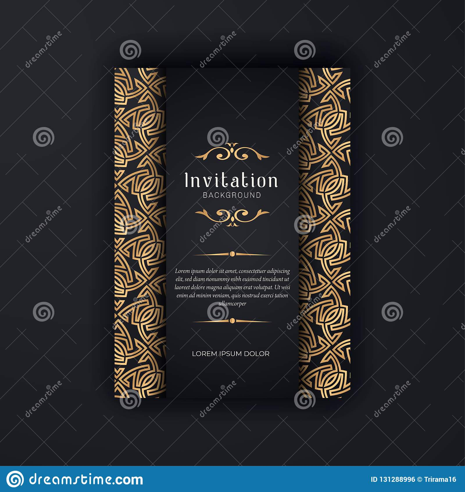 Gold Ornamental Wedding Invitation Template Greeting Card