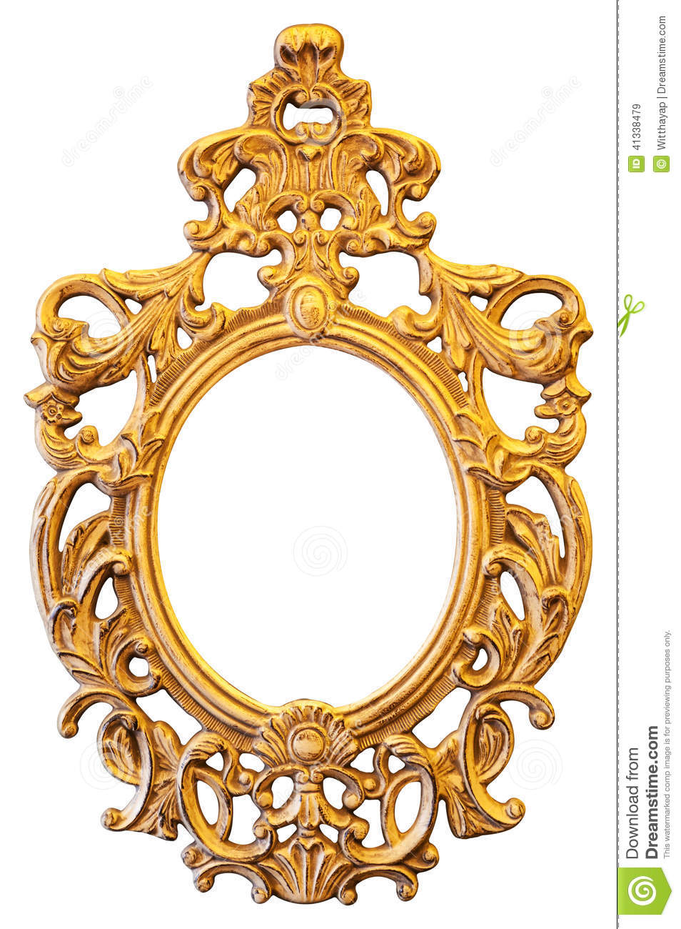 Gold Ornate Oval Frame Stock Photo Image 41338479
