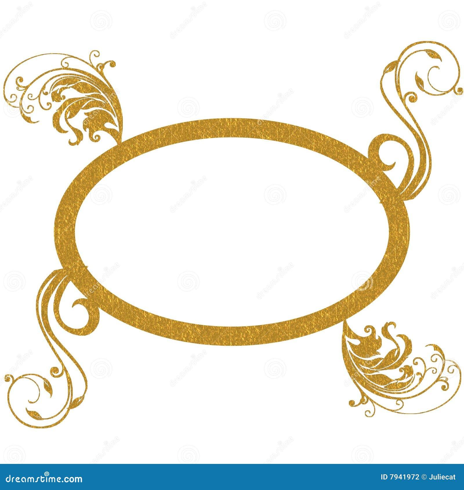 Gold Oval Frame Decorative Patterns Stock Illustration ...
