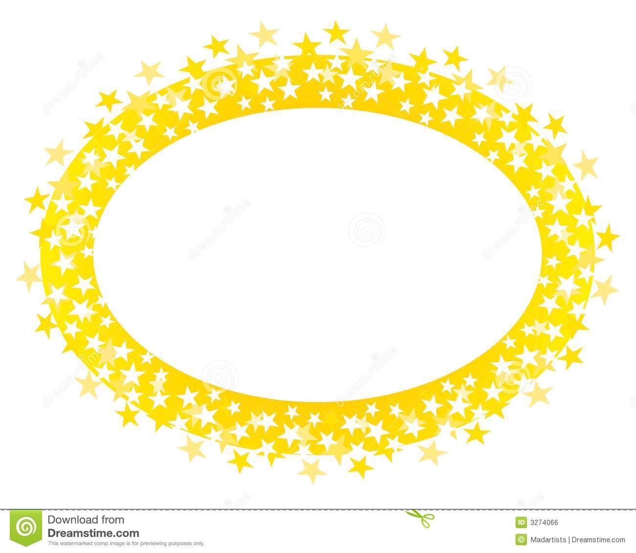 Gold Oval Stars Border Or Logo