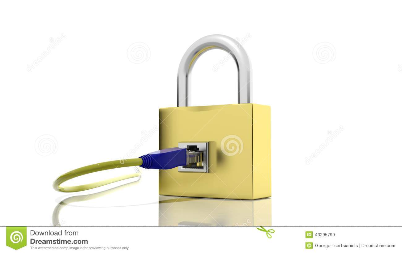 Gold padlock icon with internet access