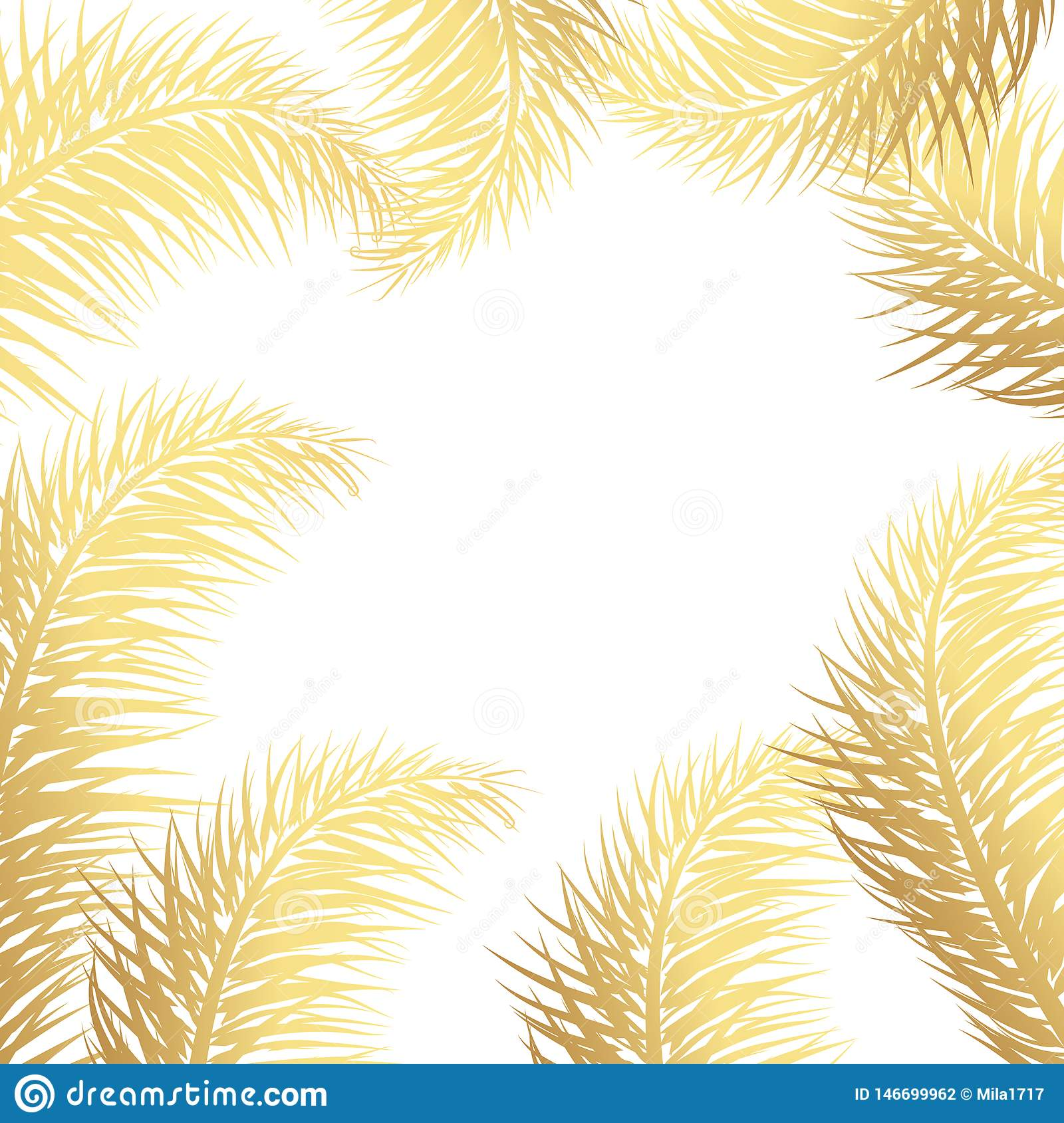 Gold Palm Leaf Vector Background Tropical Drawn Text Background Stock Illustration Illustration Of Graphic Gold 146699962
