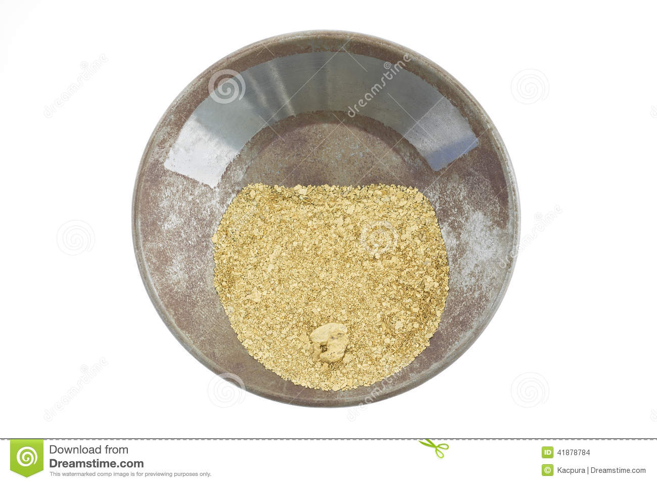 A gold pan filled with natural placer gold
