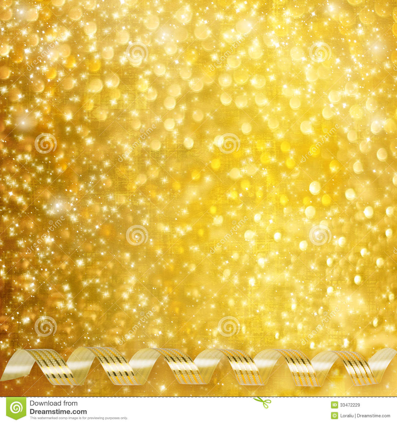 gold paper horizontal ribbon on abstract background
