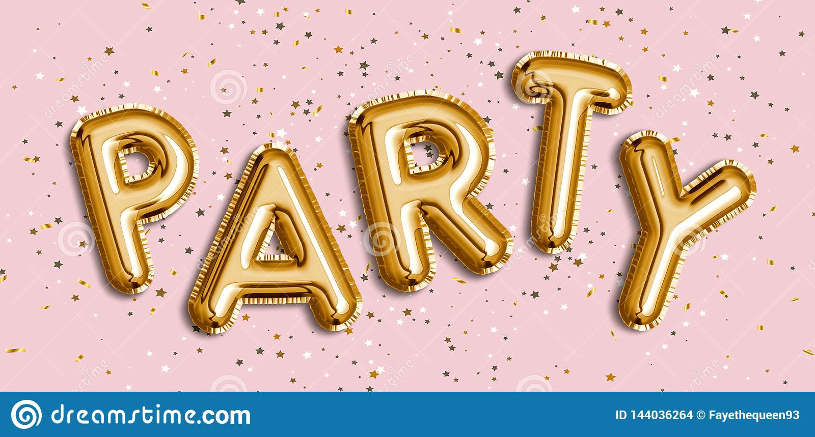 Gold Party Foil Balloon For Party  Word PARTY Made Of Balloon