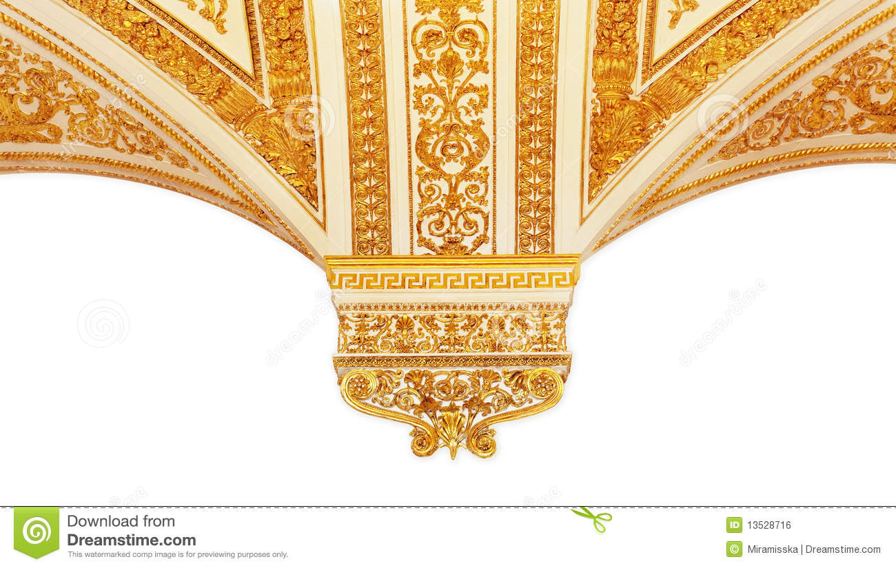 gold pattern  the border in a white background stock photo