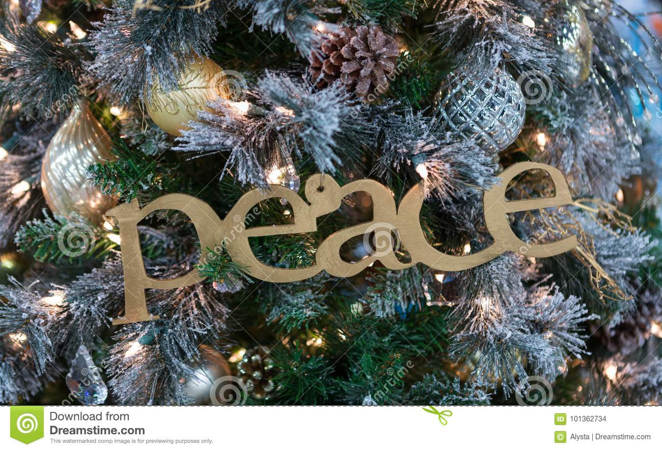 Gold Peace Sign On Christmas Tree Stock Photo Image Of Tree