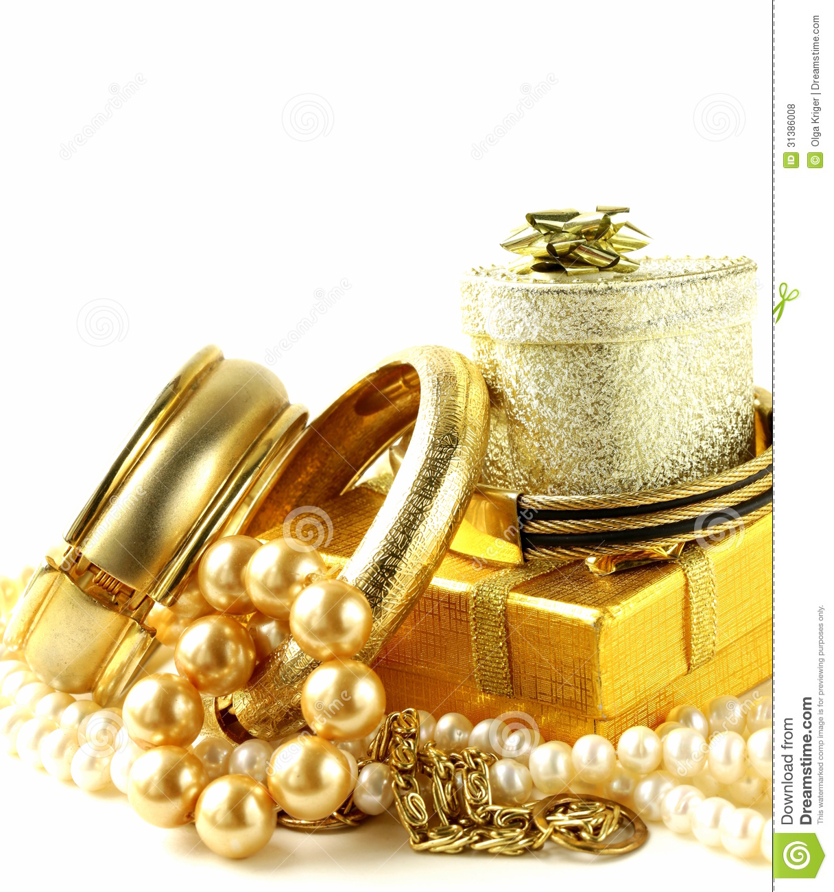 gold and pearl jewelry gift boxes royalty free stock