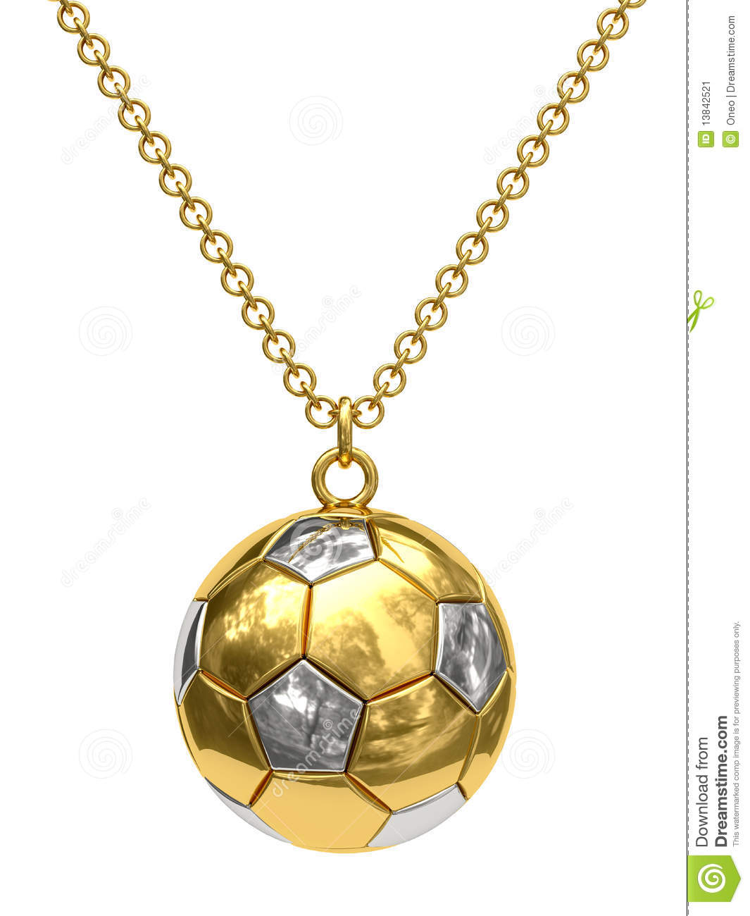 Gold pendant in shape of soccer ball on chain