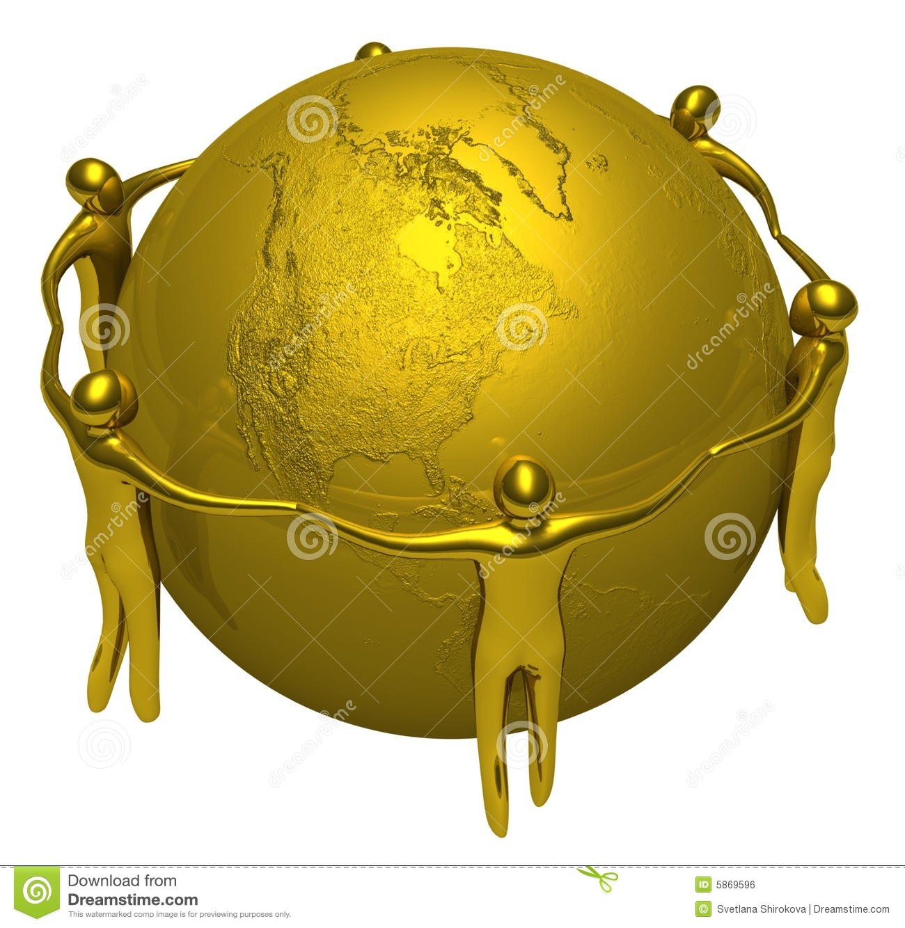 Gold People Around Of The Earth Stock Illustration