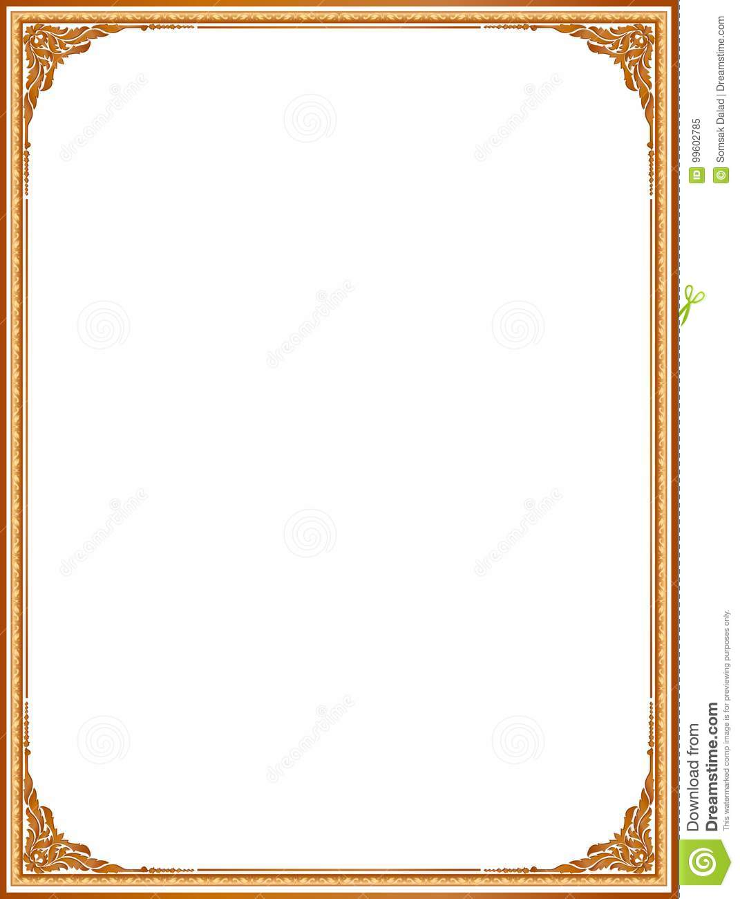 gold frame border design. Gold Photo Frame With Corner Thailand Line Floral For Picture, Vector Design  Decoration Pattern Style.frame Border Is Thai Style Gold R