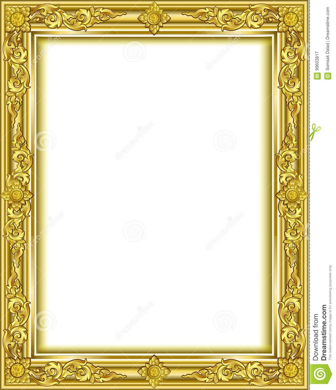 Gold Photo Frame With Corner Thailand Line Floral For Picture ...