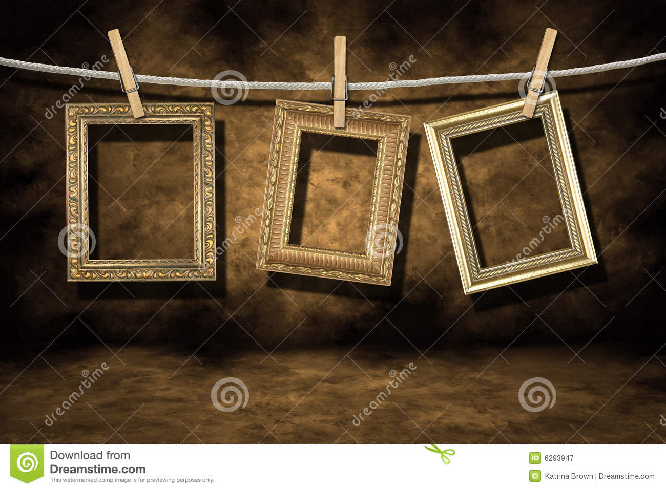 Gold Photo Frames On A Distressed Grunge Backgroun Royalty