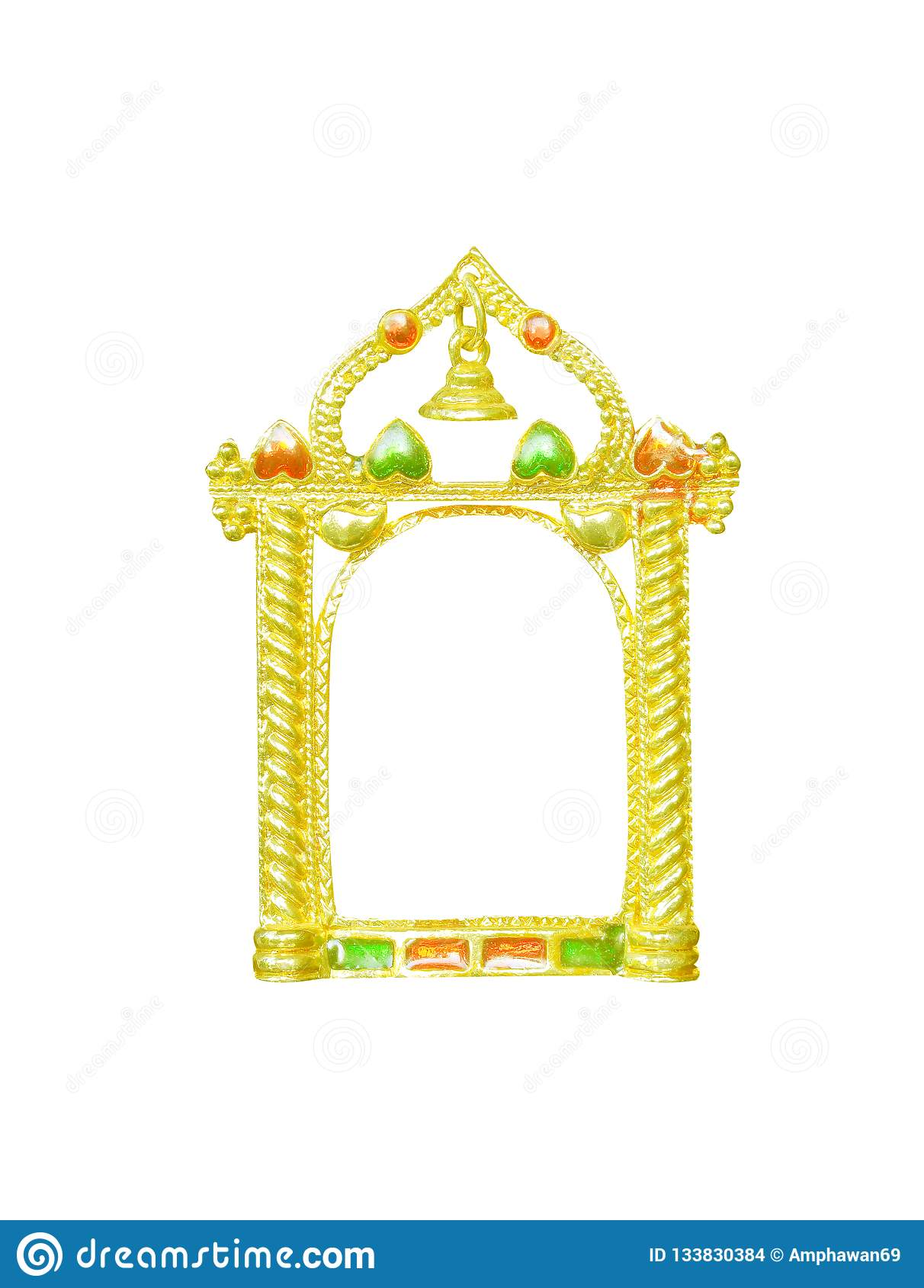 Gold picture frame with bell and decoration heart shape patterns isolated on white background,modern style