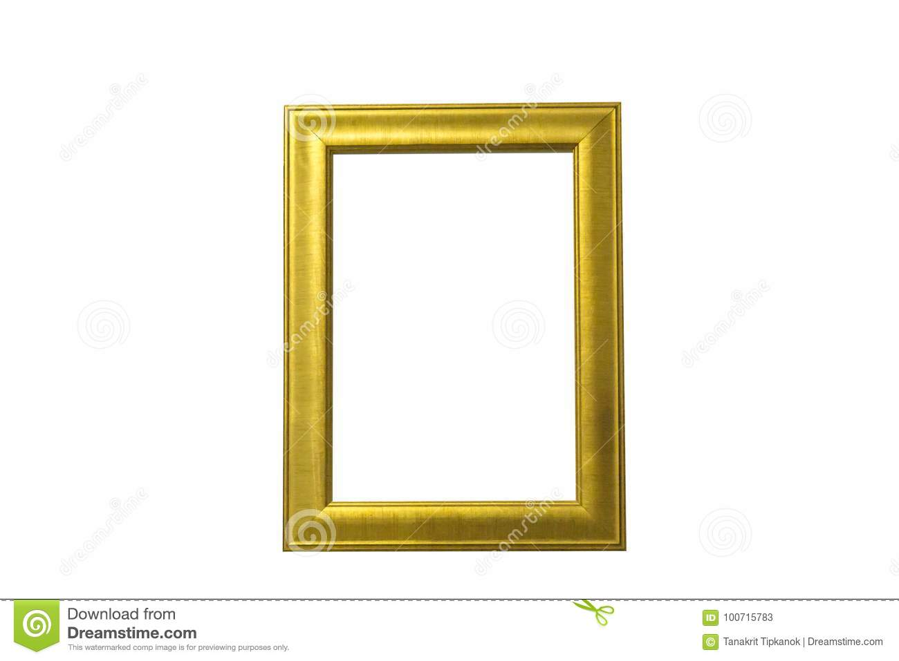 Gold picture frame Isolated white background