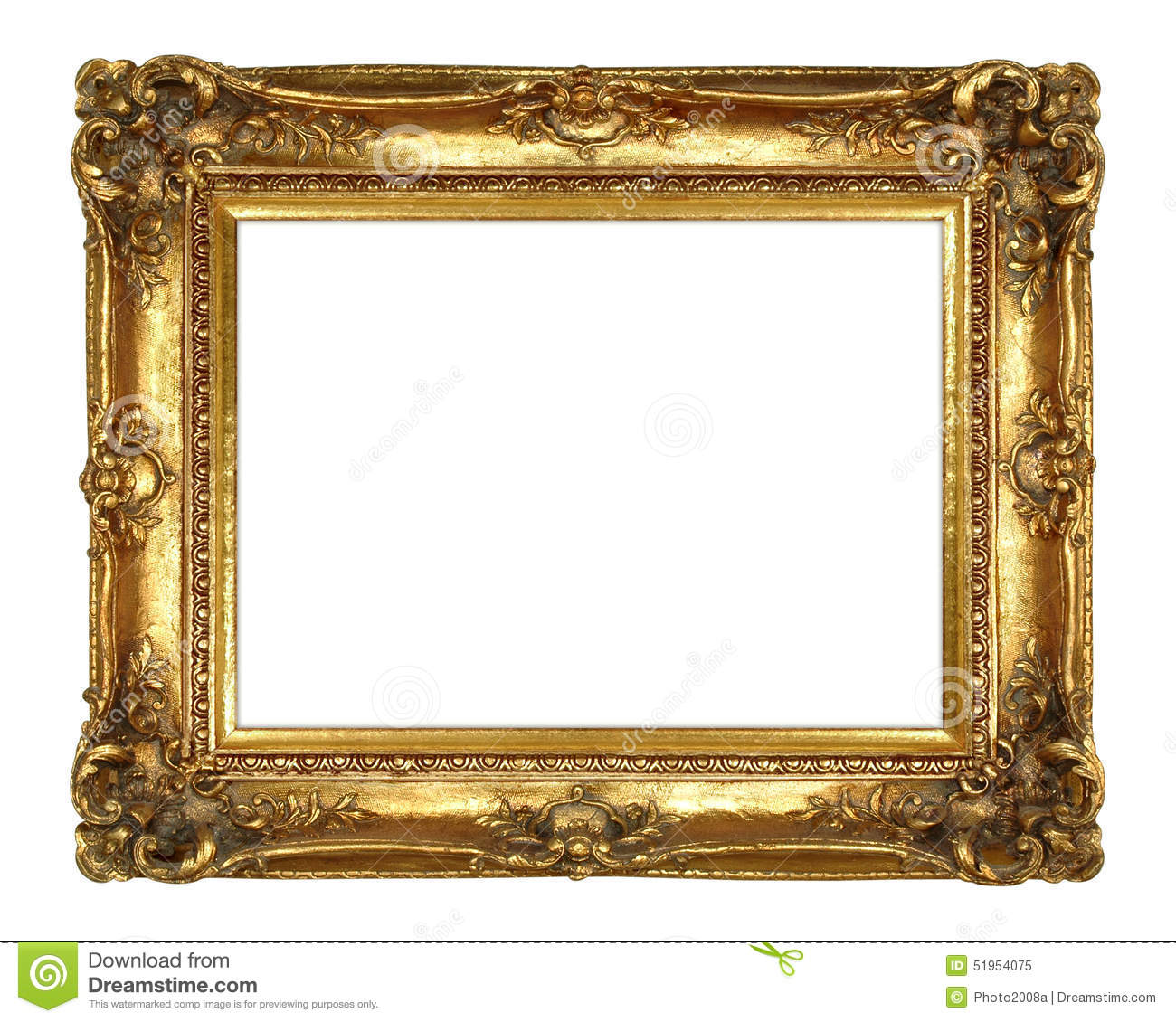Gold Picture Frame stock image. Image of image, baroque - 51954075
