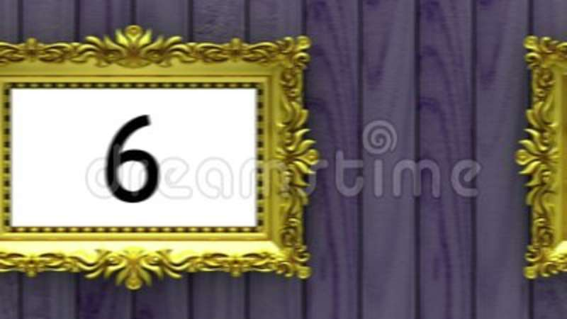 Countdown In Gold Picture Frames On Purple Wood Background Mock Up