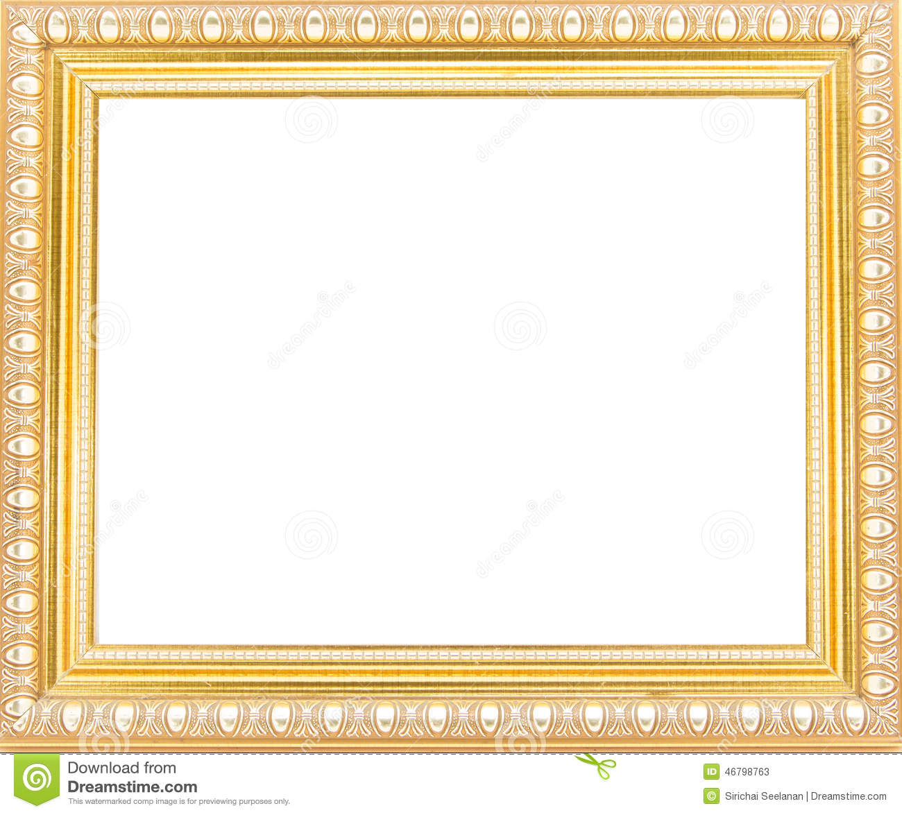 Gold Picture Frames Isolated On White Background Stock Image