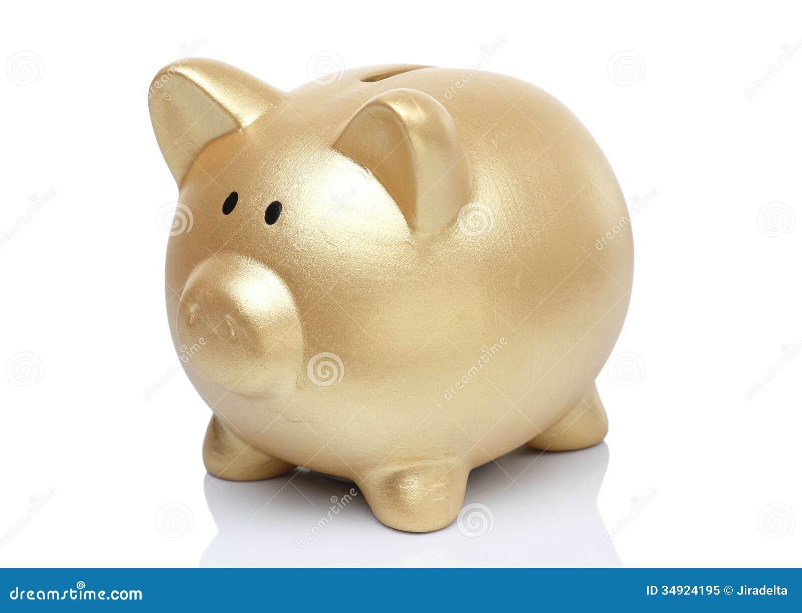 Gold Pig Bank Royalty Free Stock Photo