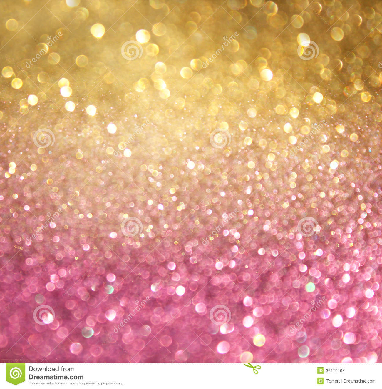 Gold and pink abstract bokeh lights. defocused background