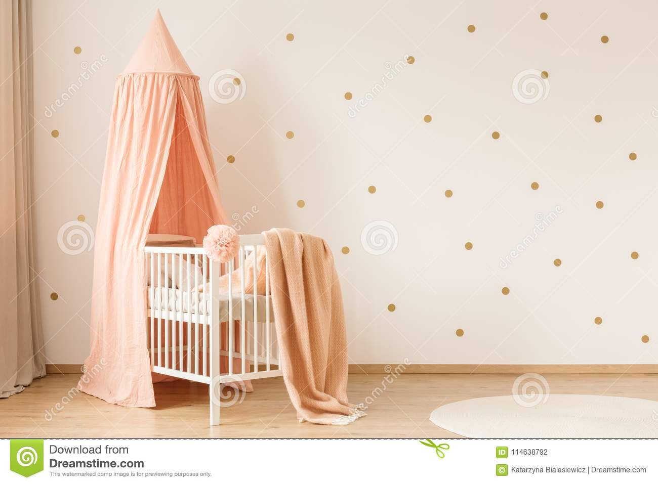 Gold And Pink Kid`s Bedroom Stock Photo - Image of apartment ...