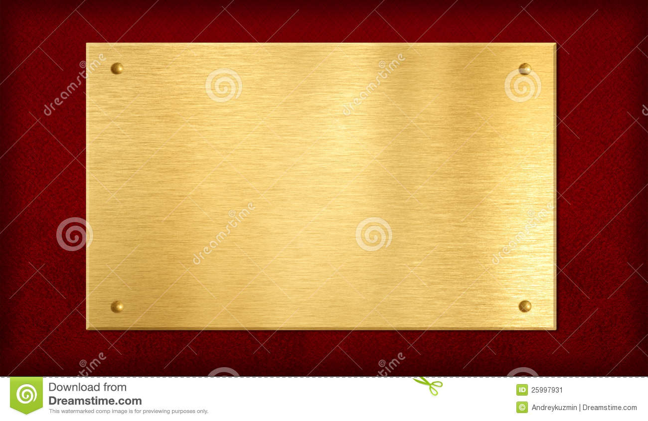 Gold Plaque On Red Background Stock Image Image 25997931