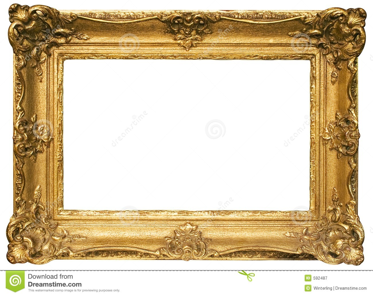 Gold Plated Wooden Picture Frame W Path Stock Image