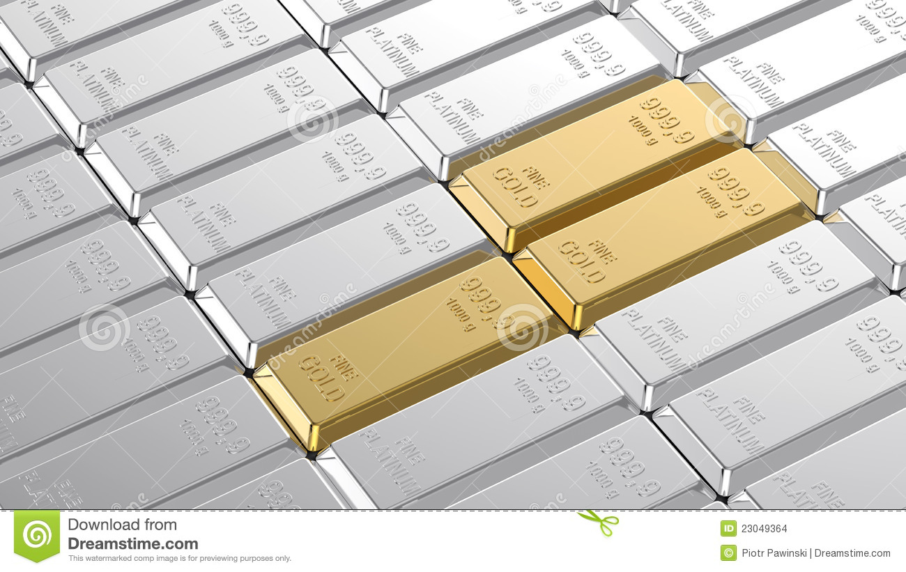 Gold And Platinum Ingots. Stock Images - Image: 23049364