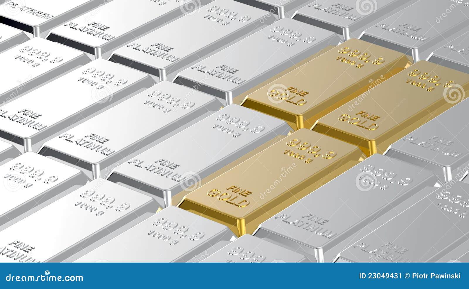 Gold And Platinum Ingots. Stock Image - Image: 23049431