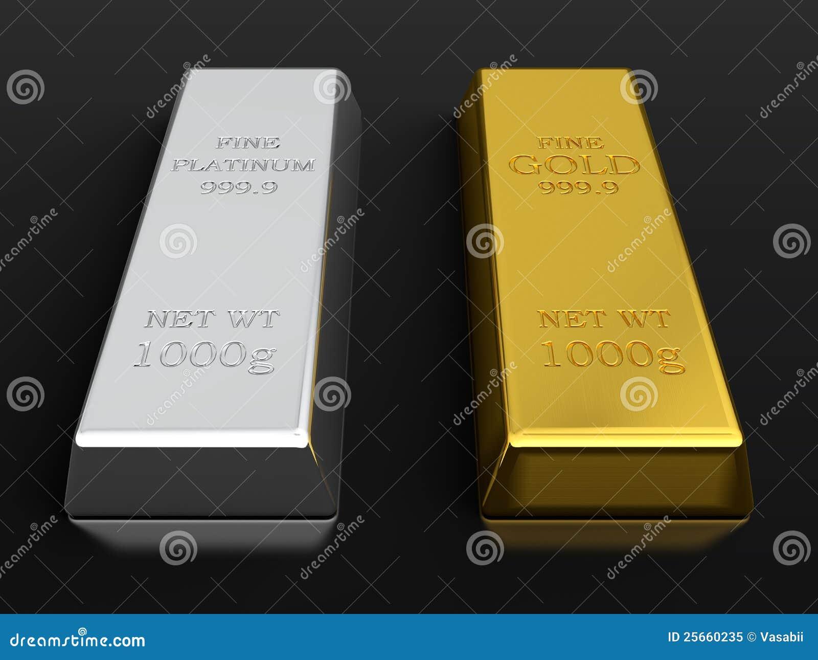 Gold and platinum ingots stock illustration. Illustration ...
