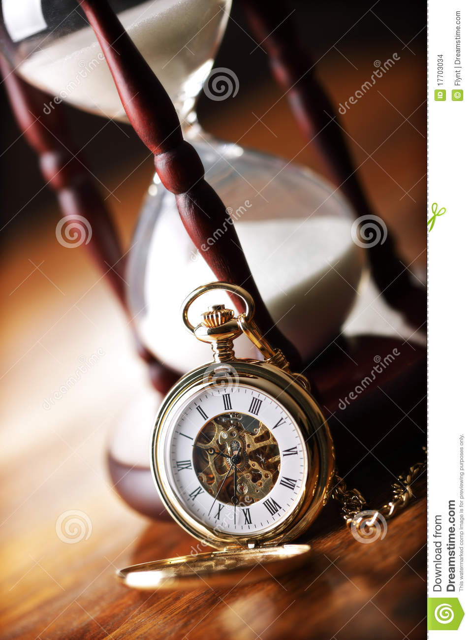 Gold Pocket Watch And Hourglass Stock Images Image 17703034