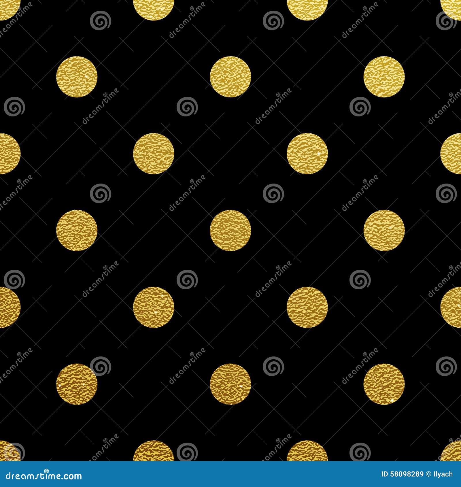 Gold Polka Dot Seamless Pattern On Black Background Stock Vector ...