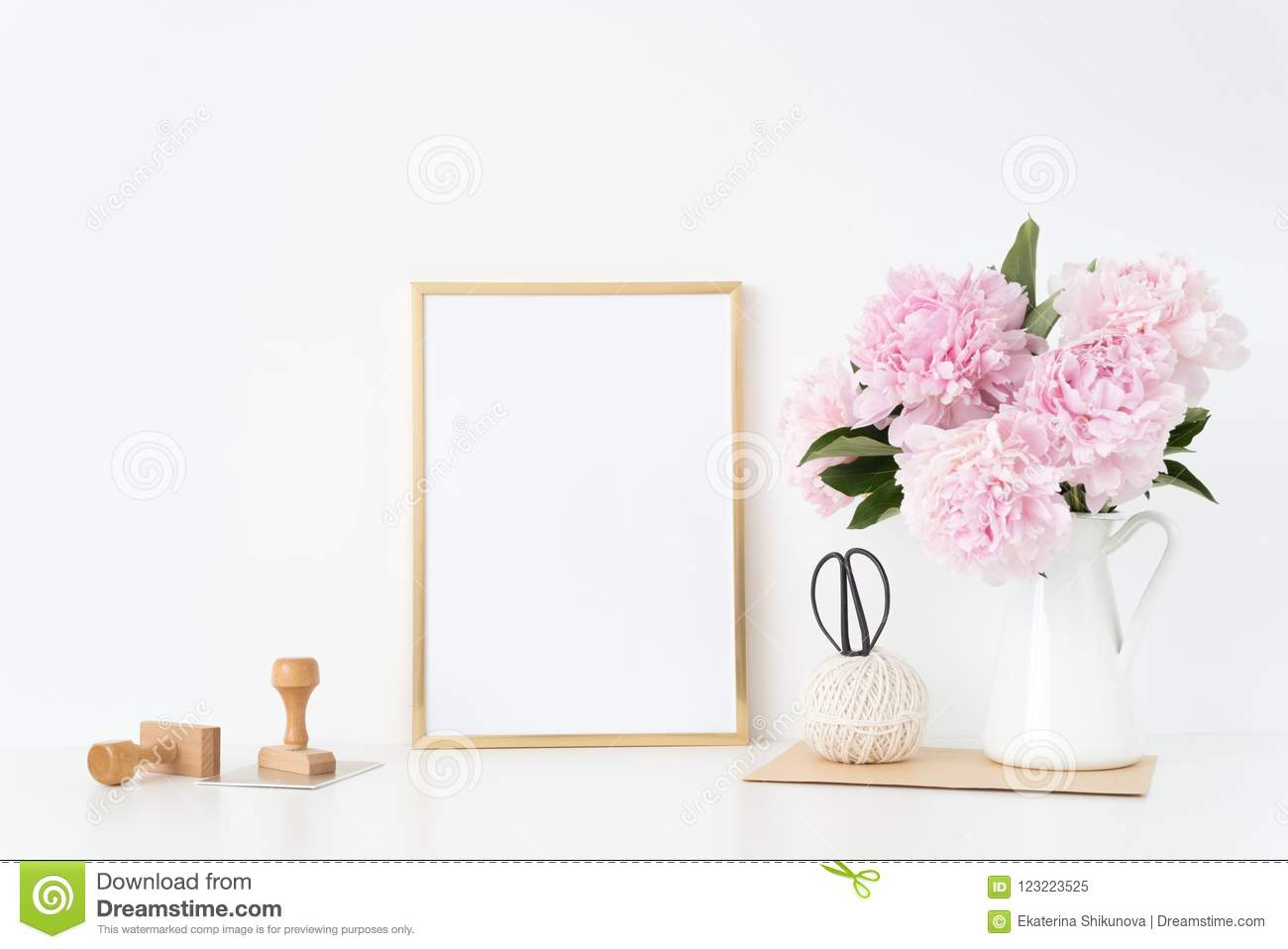 Gold Portrait Frame Mock Up With A Pink Peonies With Stamps Beside ...