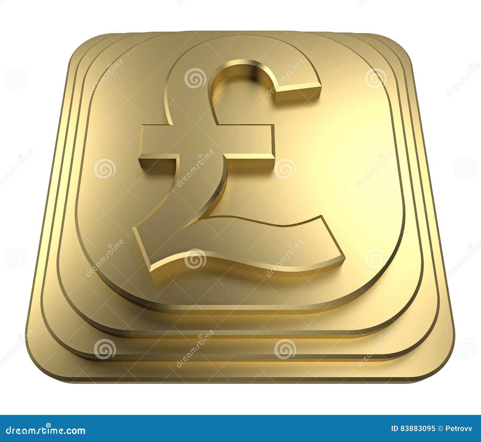 Gold Pound Symbol On A Pedestal 3d Rendering Stock Illustration