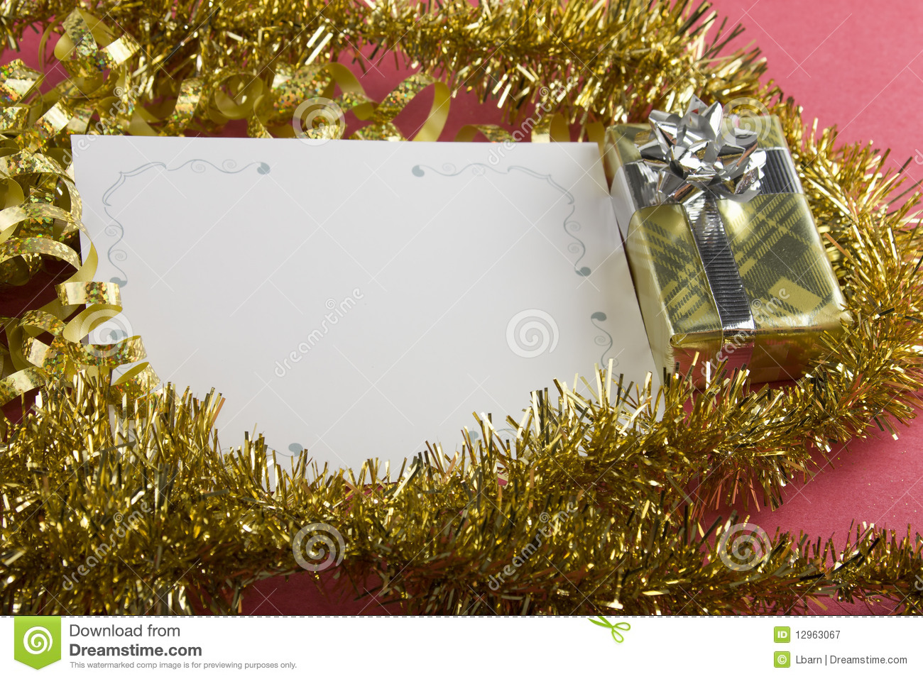 Awesome Gold Present And Blank Christmas Card Regarding Blank Xmas Cards