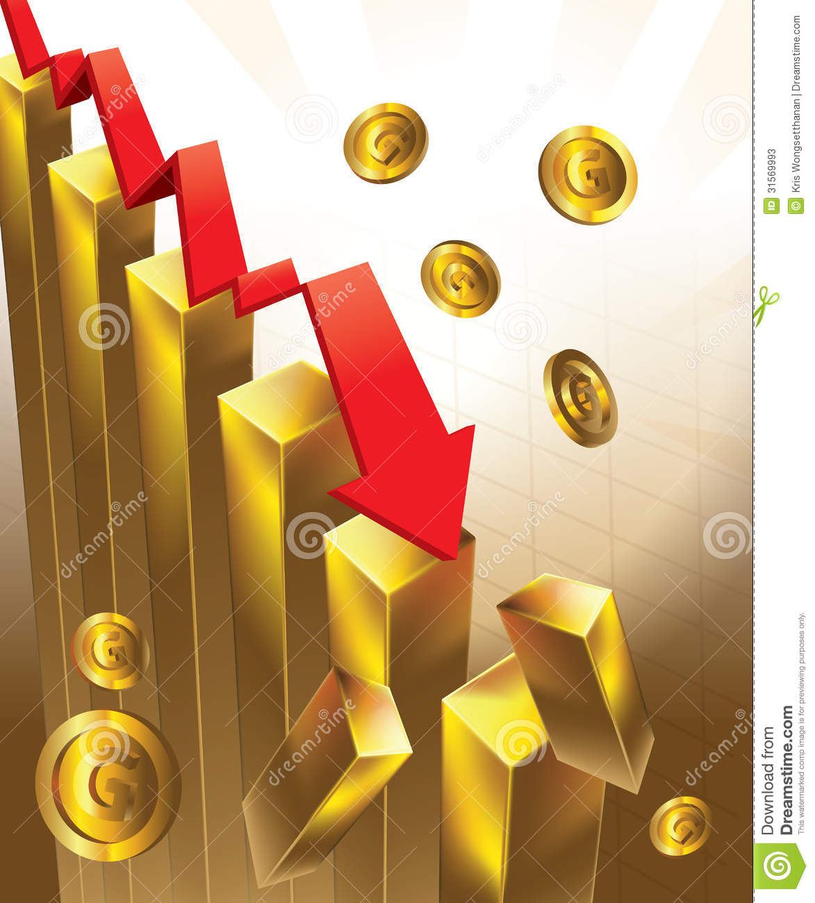 Gold Price Chart Falling Stock Vector Illustration Of Banking