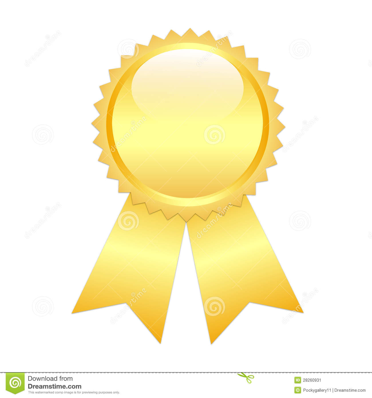 Gold prize ribbon stock image image 28260931