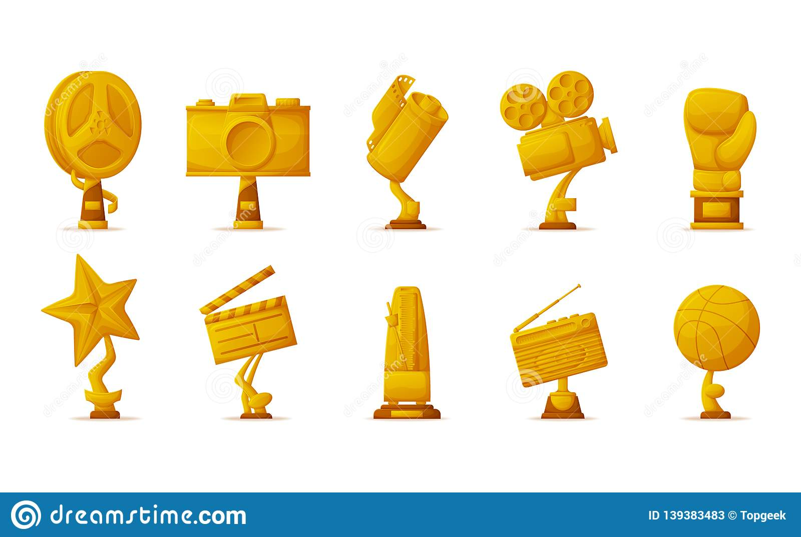 Gold Prize Trophies for Cinema, Music and Sport