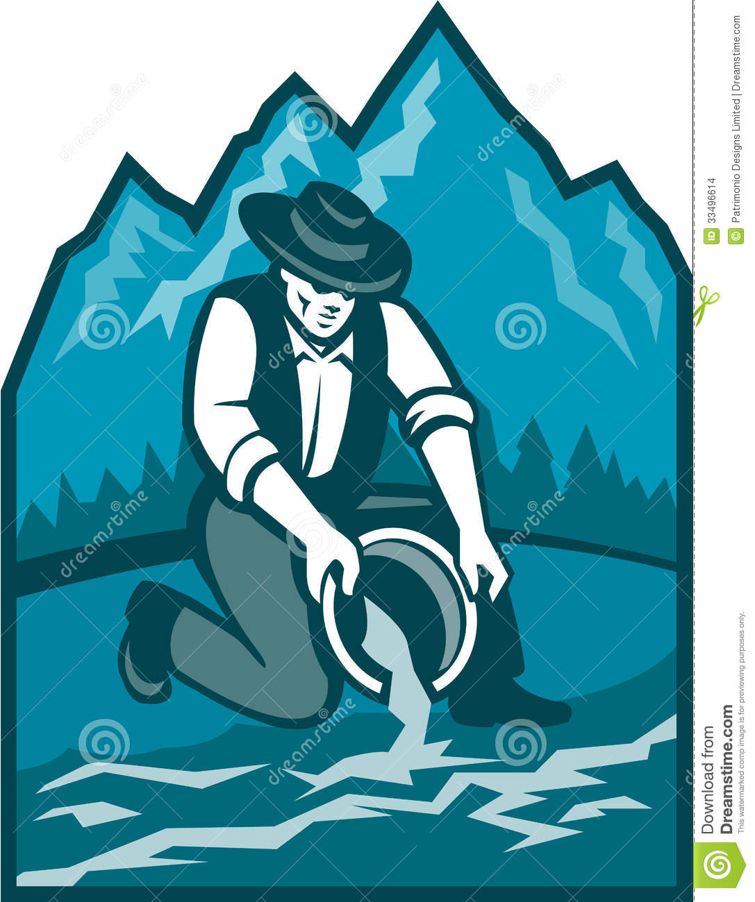 Gold Prospector Miner Pan Retro Stock Images